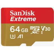 Карта памяти Sandisk 64Gb microSD Class 10 V30 A1 UHS-I U3 4K Extreme Action + SD (SDSQXAF-064G-GN6AA)