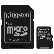 Карта памяти Kingston 256GB microSD Class 10 UHS-I + SD adapter (SDC10G2/256GB)