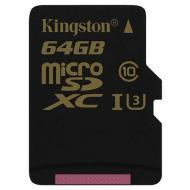 Карта памяти Kingston 64Gb microSD Class 10 UHS-I  U3 (SDCG/64GBSP)