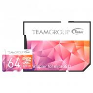 Карта памяти Team 64Gb microSD Class 10 UHS-I/U3 Color II + SD-adapter Purple/Orange (TCIIUSXH64GU351)