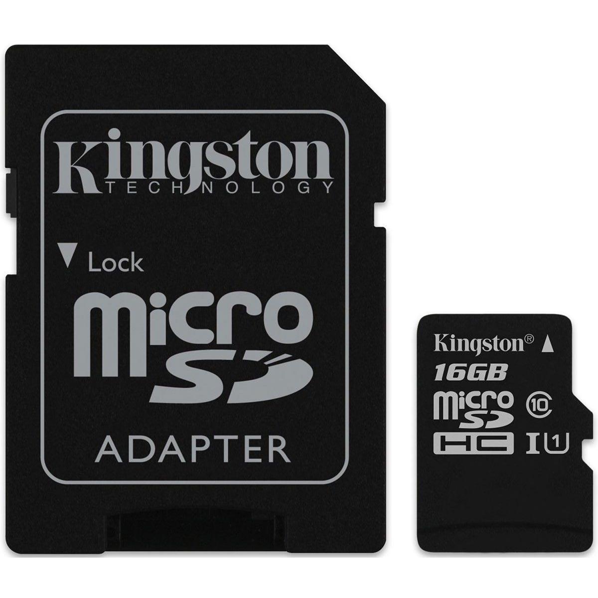 Карта памяти Kingston 16Gb microSD Class 10 UHS-I R80MB/s + SD adapter (SDCS/16GB)