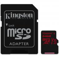 Карта памяти Kingston 64Gb microSD Class 10 UHS-I U3 R100/W80MB/s + SD (SDCR/64GB)