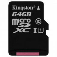 Карта памяти Kingston 64Gb microSD Class 10 UHS-I R80MB/s (SDCS/64GBSP)
