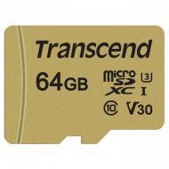 Карта памяти Transcend 64Gb microSD Class 10 500S UHS-I U3 + adapter (TS64GUSD500S)