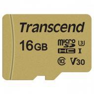 Карта памяти Transcend 16Gb microSD Class 10 500S UHS-I U3 + adapter (TS16GUSD500S)