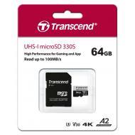 Карта памяти Transcend 64Gb microSD Class 10 UHS-I U3 A2 R100/W85MB/s + SD adapter (TS64GUSD330S)