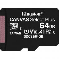 Карта памяти Kingston 64Gb microSD Class 10 Canvas Select Plus 100R A1 (SDCS2/64GBSP)