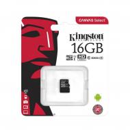 Карта памяти Kingston 16Gb microSD Class 10 UHS-I R100MB/s Canvas Select Plus (SDCS2/16GBSP)