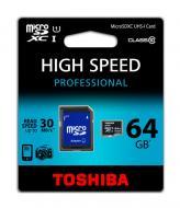 Карта памяти Toshiba 64Gb microSD Class 10 UHS-1 + SD-adapter (SD-C064UHS1(BL5A)