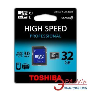 Карта памяти Toshiba 32Gb microSD Class 10 UHS-1 + SD-adapter (SD-C032UHS1(BL5A)