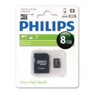 Карта памяти Philips 8Gb microSD Class 10 адаптер на SD (FM08MA45B/97)