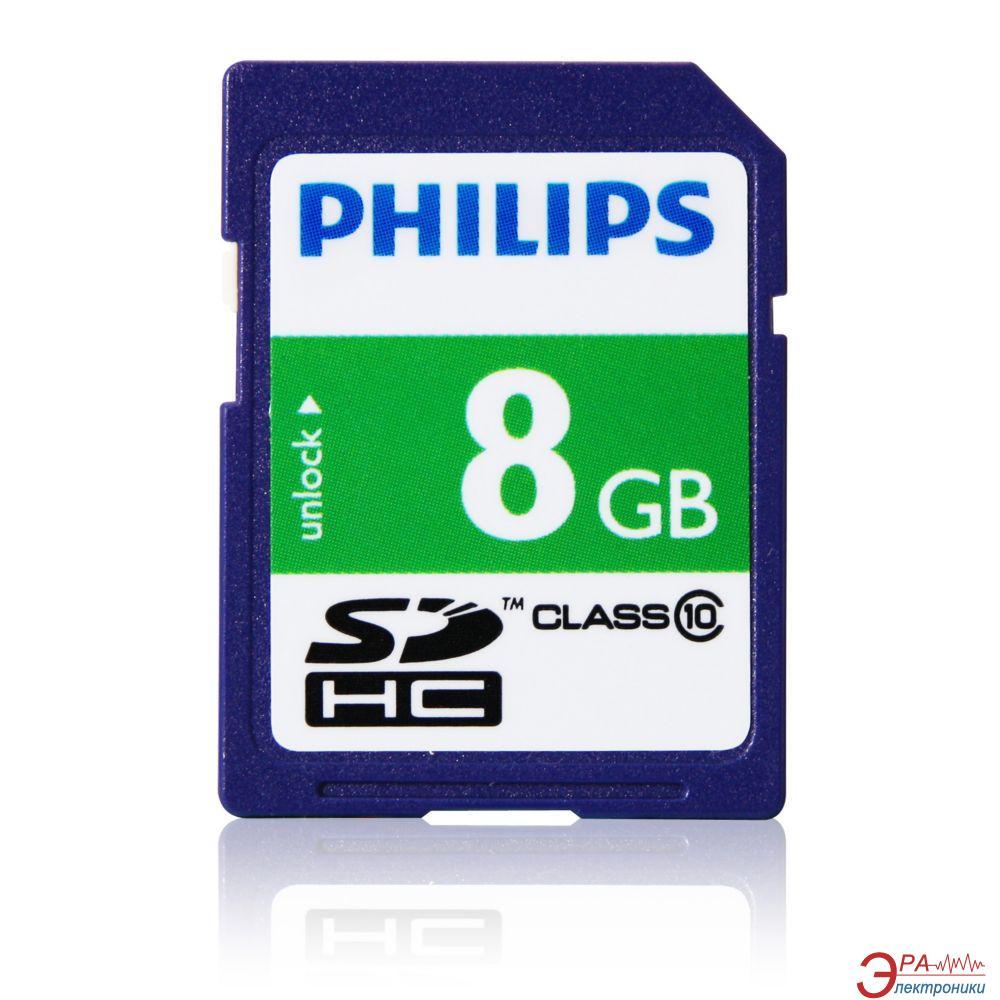 Карта памяти Philips 8Gb SD Class 10 (FM08SD45B/97)