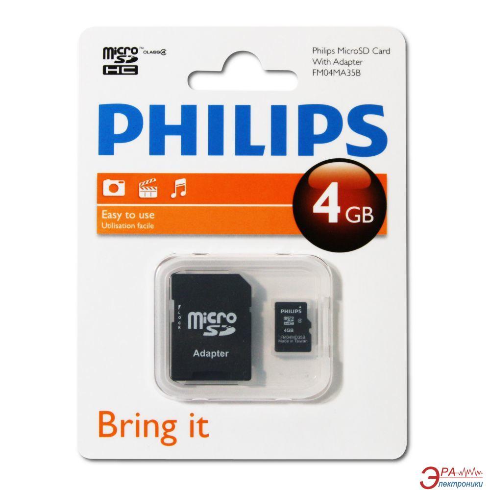 Карта памяти Philips 4Gb microSD Class 4 + adapter (FM04MA35B/97)