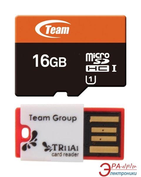 Карта памяти Team 16Gb microSD Class 10 UHS-1 + Reader TR11A1 Red (TUSDH16GUHS30)