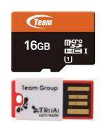 ����� ������ Team 16Gb microSD Class 10 UHS-1 + Reader TR11A1 Red (TUSDH16GUHS30)