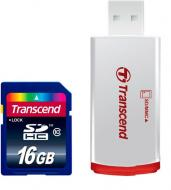Карта памяти Transcend 16Gb SD Class 10 + RDP2 card reader (TS16GSDHC10-P2)