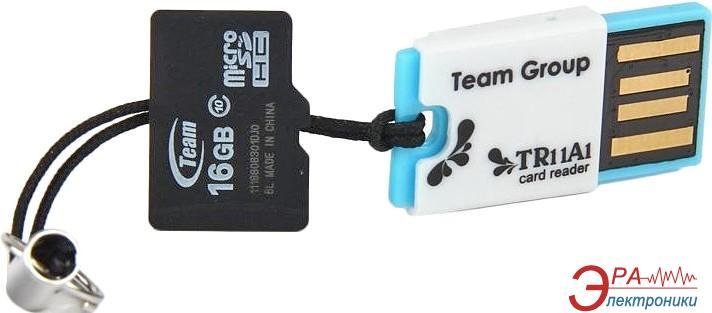 Карта памяти Team 16Gb microSD Class 10 + Card-reader TR11A1 (TUSDH16GCL1005)