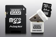 Карта памяти Goodram 64Gb microSD Class 10 UHS-1 +adapter+reader (USDR464GBC10R9)