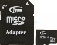 Карта памяти Team 32Gb microSD Class 6 + adapter (TUSDH32GCL603)