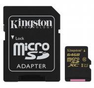 Карта памяти Kingston 64Gb microSD Class 10 Class 10 UHS-I + SD адаптер (SDCA10/64GB)