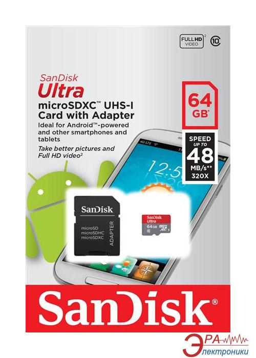 Карта памяти Sandisk 64Gb microSD Class 10 UHS-I Ultra Android (SDSDQUAN-064G-G4A)