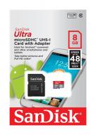 Карта памяти Sandisk 8Gb microSD Class 10 Ultra UHS-I 48MB/s Android (SDSDQUAN-008G-G4A)
