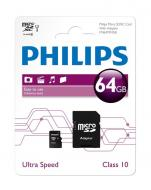 Карта памяти Philips 64Gb microSD Class 10 + adapter (FM64MA45B/97)