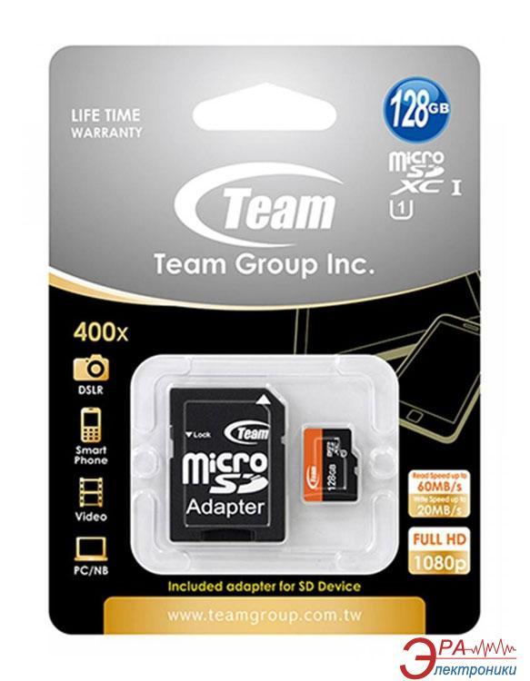Карта памяти Team 128Gb microSD Class 10 UHS-1 + adapter (TUSDX128GUHS03)