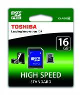 ����� ������ Toshiba 16Gb microSD Class 4 + SD-adapter (SD-C16GJ(6A))