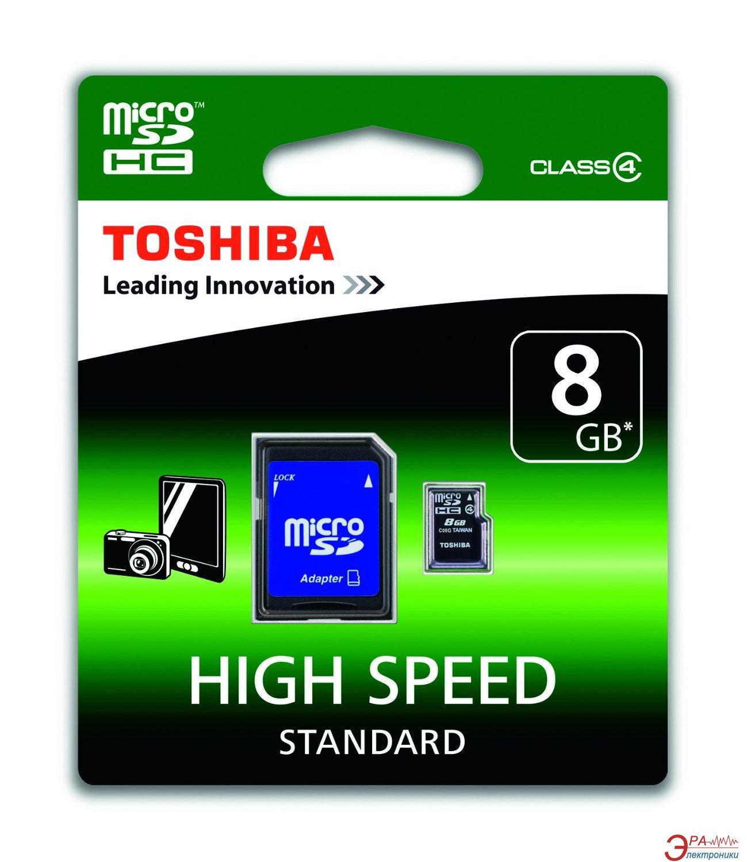 Карта памяти Toshiba 8Gb microSD Class 4 + SD-adapter (SD-C08GJ(6A))