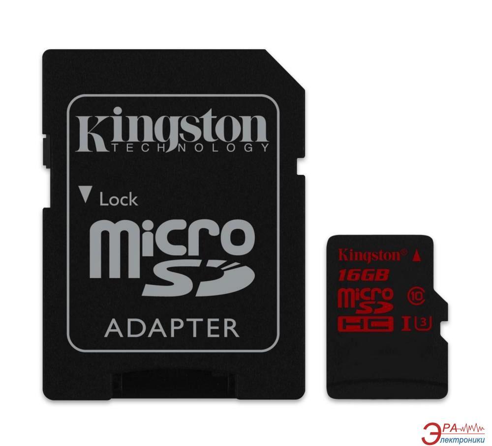 Карта памяти Kingston 16Gb microSD Class 10 UHS-I U3 + SD-adapter (SDCA3/16GB)