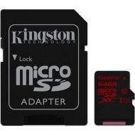 Карта памяти Kingston 64Gb microSD Class 10 U3 + SD adapter (SDCA3/64GB)