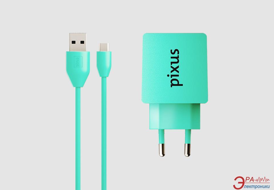 Зарядное устройство Pixus Charge One, 5V - 2A, Turquoise + кабель microUSB