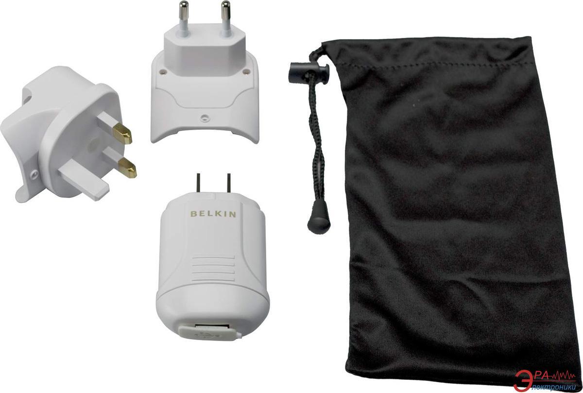 Зарядное устройство Belkin USB Travel Power kit (220V + iPhone/ iPod cable USB 1Amp) (F8Z098eaTRAV)