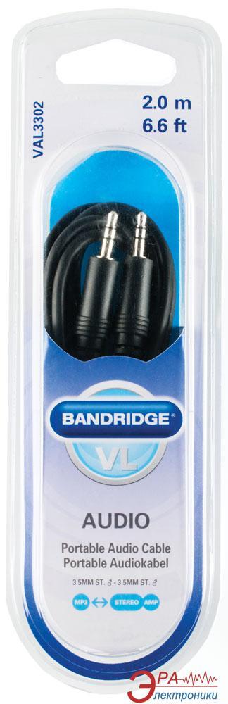 Кабель jack 3.5мм-M/jack 3.5мм-M Bandridge ValueLine 2m (VAL3302)