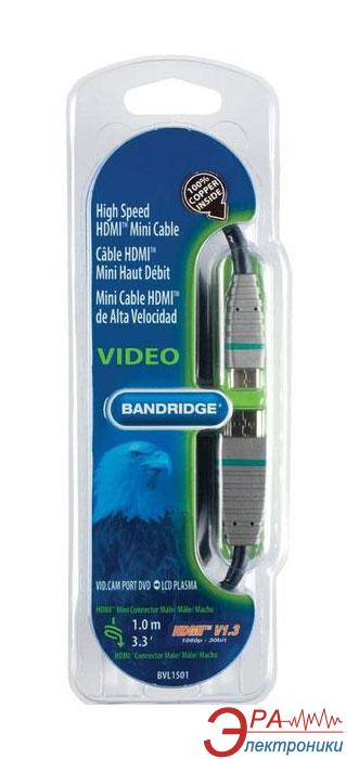 HDMI-miniHDMI Bandridge BLUE Cable 1m (BVL1501)