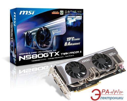 Видеокарта MSI Nvidia GeForce GTX580 TwinFrozrII/OC GDDR5 1280 Мб (N580GTX_TwinFrozrII/OC)