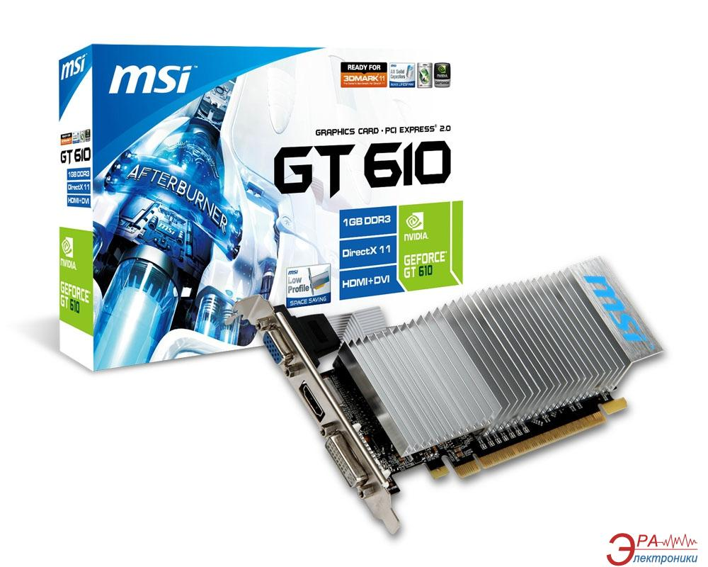Видеокарта MSI Nvidia GeForce GT 610 GDDR3 1024 Мб (N610GT-MD1GD3H/LP V2)