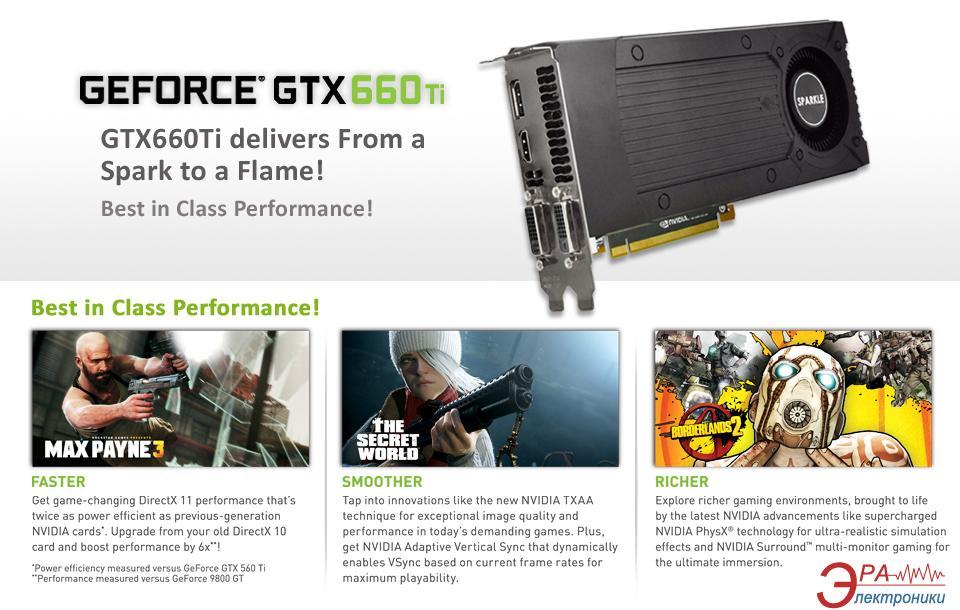 Видеокарта SPARKLE Nvidia GeForce GTX 660 GDDR5 2048 Мб (SX660TI2048MH)